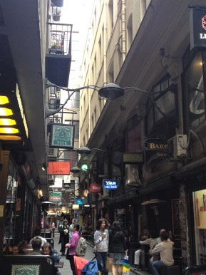 Strolling down Degraves Street in MelbourneCBD